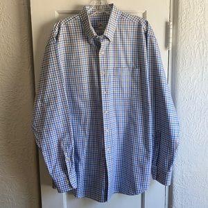 Peter Millar Mens Blue Plaid Long Sleeve Shirt XL